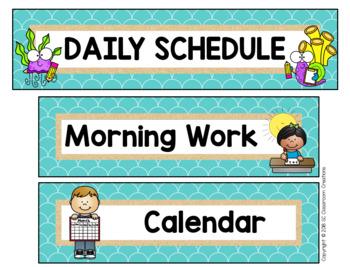Ocean Themed Schedule Cards-Classroom Decor