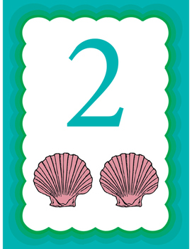 Ocean Themed Seashell Counters: Numbers 1-20