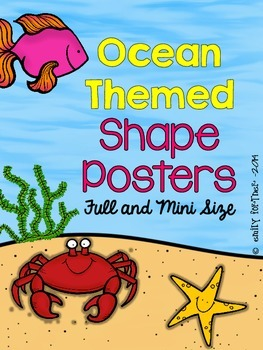 Ocean Themed Shape Posters 2D and 3D Full Size and Mini