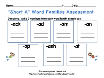"Ocean Themed ""Short A"" Word Family Bump"