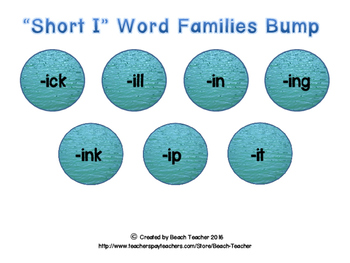 "Ocean Themed ""Short I"" Word Family Bump"