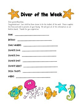 Ocean Themed Student of the Week