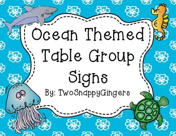 Ocean Themed Table Group Signs