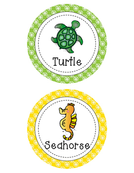 Ocean Themed Table Group Signs - Circles