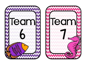 Ocean Themed Table/ Group Signs-Vertical (Classroom Decor)