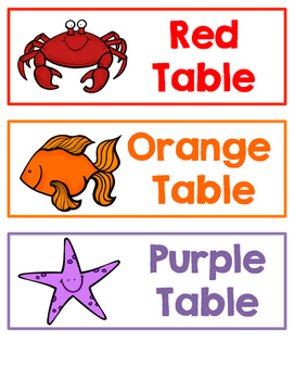 Ocean Themed Table Labels