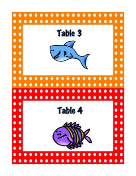 Ocean Themed Table Lables