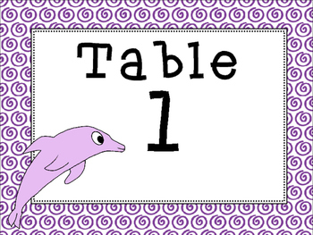 Ocean Themed Table Number Signs