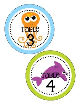 Ocean Themed Table Numbers (only)