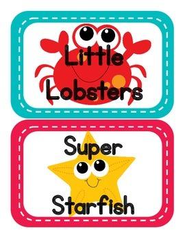 Ocean Themed Table Signs (animal edition)