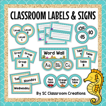 Ocean Themed Themed Labels and Signs-Classroom Decor