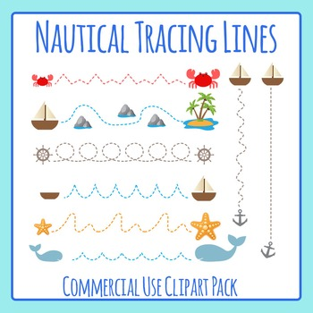 Ocean Themed Tracing Lines Commercial Use Clip Art