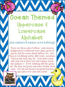 Ocean Themed Uppercase & Lowercase Letters Cards PLUS Numb