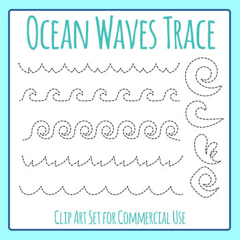 ocean themed wave tracing practice for pencil control dashed clip art set. Black Bedroom Furniture Sets. Home Design Ideas