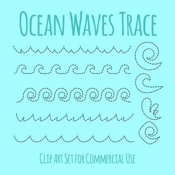 Ocean Themed Wave Tracing Practice for Pencil Control Dashed Clip Art Set