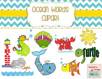 Ocean Themed Word Clipart