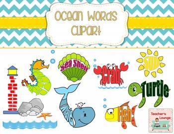 Ocean Themed Word Clipart