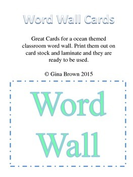 Ocean Themed Word Wall Cards