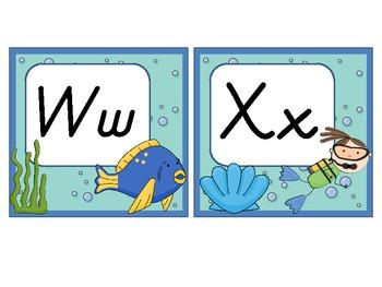 Word Wall Headers: Ocean-Themed (D'Nealian)
