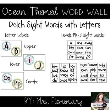 Ocean Themed Word Wall - Letters and Dolch Sight Words