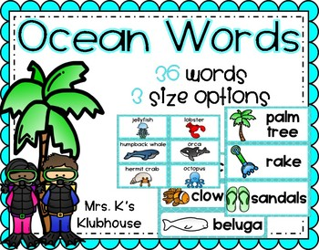 Ocean-Themed Word Wall Words