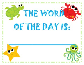Ocean Themed Word of the Day sign