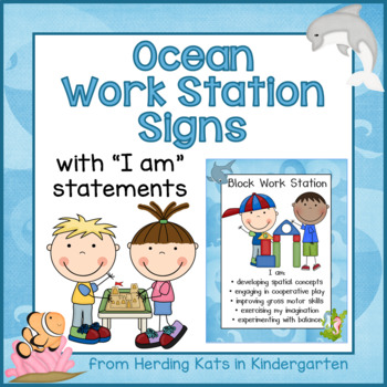 Ocean Themed Work Station Signs