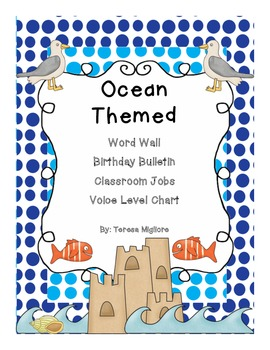 Ocean Themed classroom Word Wave Wall, Birthday Beach, and Classroom Jobs, etc