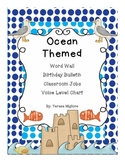 Ocean Themed classroom Word Wave Wall, Birthday Beach, and