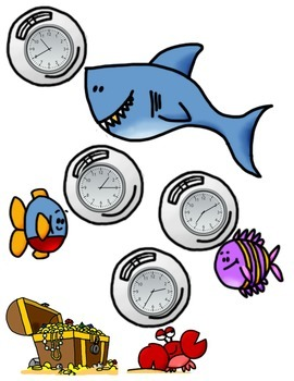 Ocean Time to Five Minutes Math Center Game