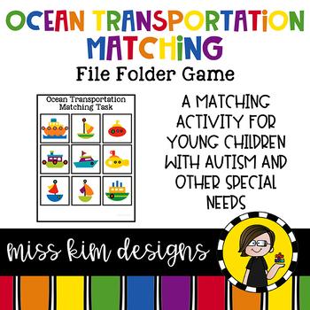 Ocean Transportation Matching Folder Game for Special Education