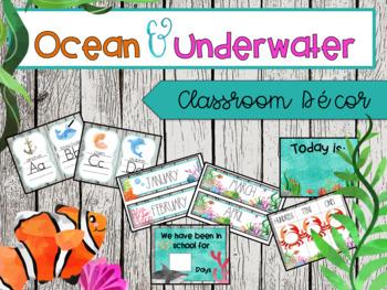 Ocean & Under Water EDITABLE Classroom Decor Kit