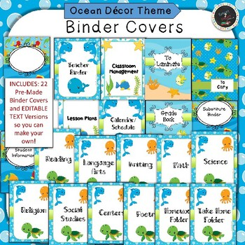 Ocean Under the Sea Binder Covers and Classroom Organization Pack