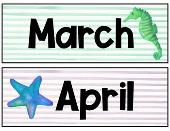 Ocean | Under the Sea | Classroom Calendar