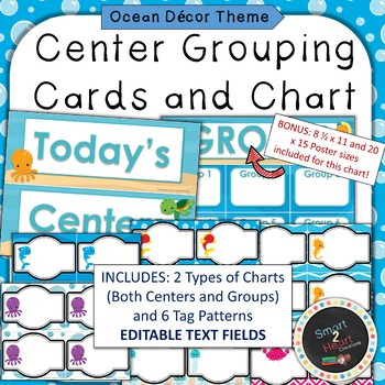 Ocean Under the Sea Theme Center Grouping Cards and Chart