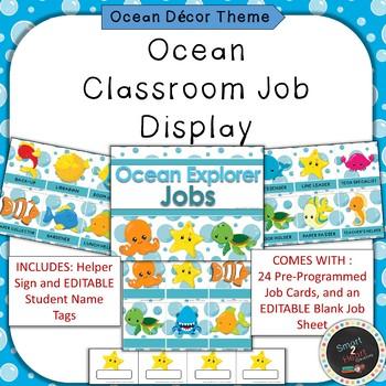 Ocean Under the Sea Theme Classroom Job Helper Display
