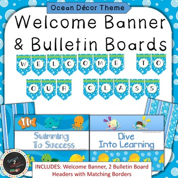 Ocean Under the Sea Theme Welcome Banner & Bulletin Boards