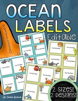 Ocean Underwater Theme Classroom Labels Decorations Editable
