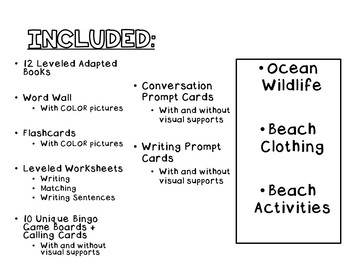 Ocean VOCABULARY UNIT (SPED/Autism/Elementary) #4onthe4th