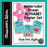 Ocean Watercolor Alphabet Posters   Classroom Decor