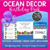 Ocean Watercolor Birthday Charts | Classroom Decor | Editable