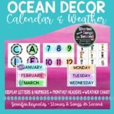 Ocean Watercolor Calendar and Weather Set   Classroom Decor
