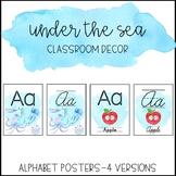 Ocean Watercolor Classroom Decor: Alphabet Posters