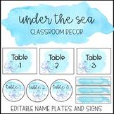 Ocean Watercolor Classroom Decor: Editable Name Plates and Signs