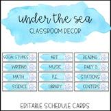 Ocean Watercolor Classroom Decor: Editable Schedule Cards