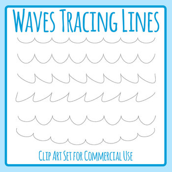 Ocean Waves Dashed or Dotted Tracing Lines Clip Art for Commercial Use