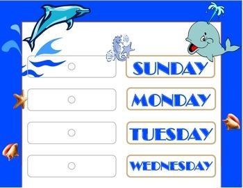 Ocean Weekday Chart! Ocean Bulletin Board! Ocean Theme! Ocean Days of the Week!