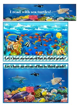 Ocean Welcome to third grade postcards & bookmarks