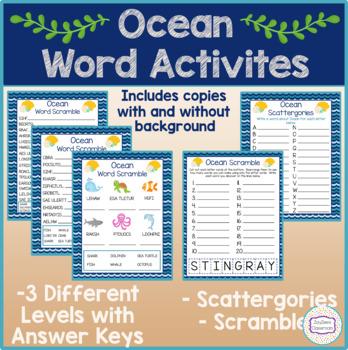 Ocean Word Activities Word Scrambles Scattergories By Zayzee S Classroom