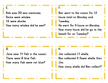 Ocean Word Problems Common Core Math 1.OA.1